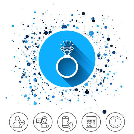 Button on circles background. Ring sign icon. Jewelry with shine diamond symbol. Wedding or engagement day symbol. Calendar line icon. And more line signs. Random circles. Editable stroke. Vector Stock Vector - 89712340