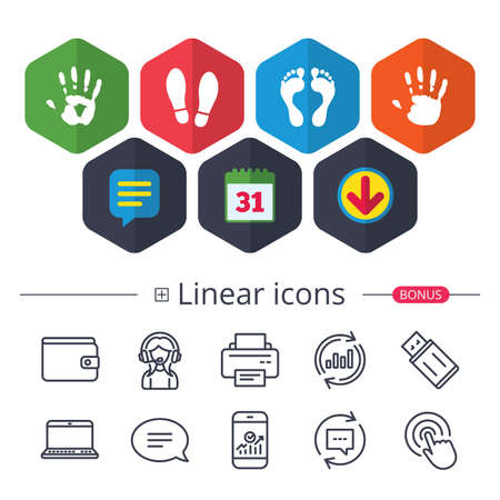 Calendar, Speech bubble and Download signs. Hand and foot print icons. Imprint shoes and barefoot symbols. Stop do not enter sign. Chat, Report graph line icons. More linear signs. Editable stroke