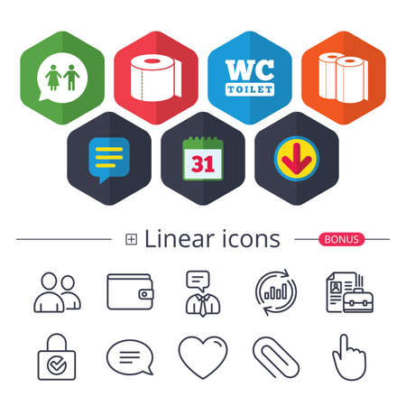 Calendar, Speech bubble and Download signs. Toilet paper icons. Gents and ladies room signs. Paper towel or kitchen roll. Man and woman symbols. Chat, Report graph line icons. More linear signs Illustration