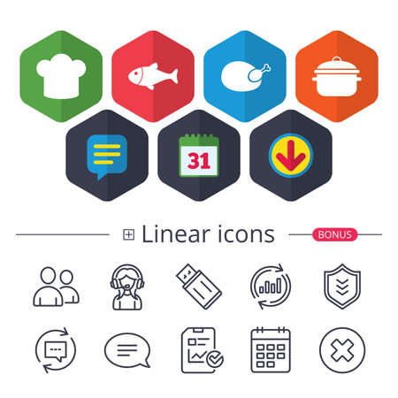 Calendar, Speech bubble and Download signs. Chief hat and cooking pan icons. Fish and chicken signs. Boil or stew food symbol. Chat, Report graph line icons. More linear signs. Editable stroke. Vector