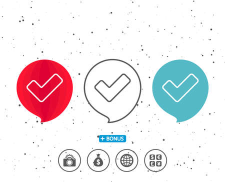 Speech bubbles with symbol. Check line icon. Approved Tick sign. Confirm, Done or Accept symbol. Bonus with different classic signs. Random circles background. Vector