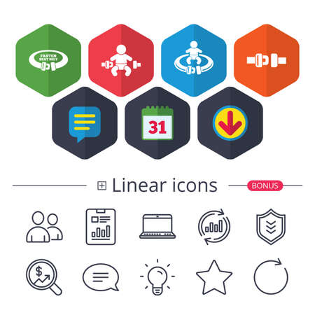 Calendar, Speech bubble and Download signs. Fasten seat belt icons. Child safety in accident symbols. Vehicle safety belt signs. Chat, Report graph line icons. More linear signs. Editable stroke