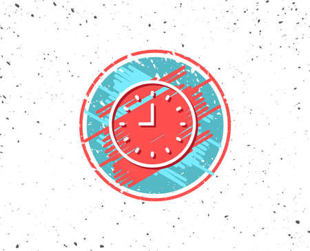 Grunge button with symbol. Clock line icon. Time sign. Office Watch or Timer symbol. Random background. Vector