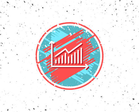 Grunge button with symbol. Chart line icon. Report graph or Sales growth sign. Analysis and Statistics data symbol. Random background. Vector