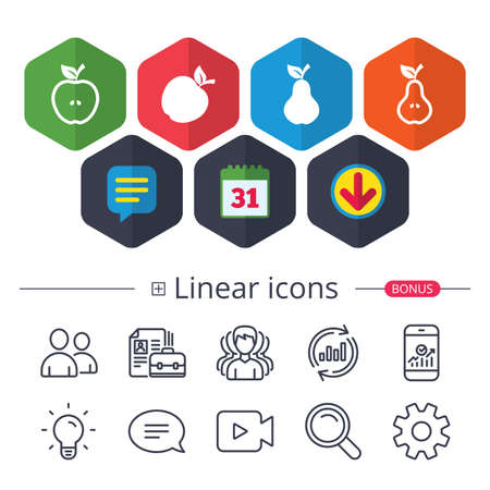Calendar, Speech bubble and Download signs. Fruits with leaf icons. Apple and Pear with seeds signs. Natural food symbol. Chat, Report graph line icons. More linear signs. Editable stroke. Vector