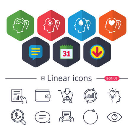 Calendar, Speech bubble and Download signs. Head with brain icon. Female woman think symbols. Blood drop donation signs. Love heart. Chat, Report graph line icons. More linear signs. Editable stroke