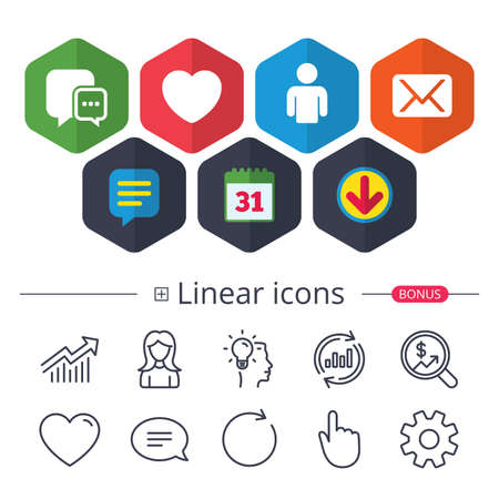 Calendar, Speech bubble and Download signs. Social media icons. Chat speech bubble and Mail messages symbols. Love heart sign. Human person profile. Chat, Report graph line icons. More linear signs Illustration
