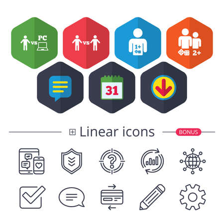 Calendar, Speech bubble and Download signs. Gamer icons. Board and PC games players signs. Player vs PC symbol. Chat, Report graph line icons. More linear signs. Editable stroke. Vector Ilustração