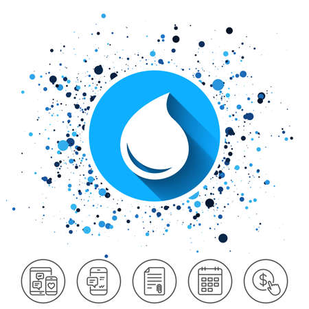 Button on circles background. Water drop sign icon. Tear symbol. Calendar line icon. And more line signs. Random circles. Editable stroke. Vector Stok Fotoğraf - 89712065