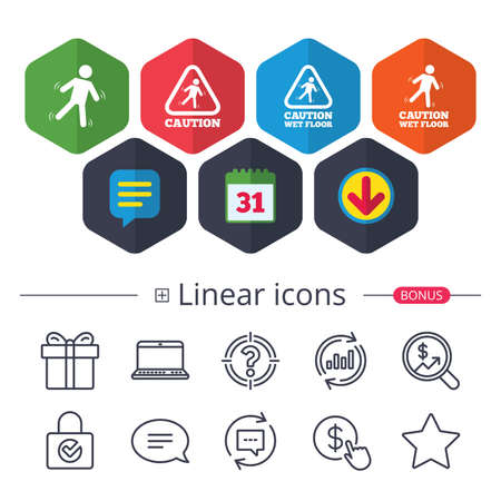 Calendar, Speech bubble and Download signs. Caution wet floor icons. Human falling triangle symbol. Slippery surface sign. Chat, Report graph line icons. More linear signs. Editable stroke. Vector Ilustração