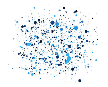 Abstraktes Blau kreist Hintergrund ein. Zufällige Positionierung von Elementen. Kreativer geometrischer Hintergrund. Farbiges punktiertes oder Blasenentwurf.