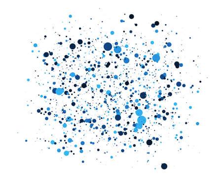 Fundo abstrato azul círculos. Posicionamento aleatório de elementos. Pano de fundo geométrico criativo. Projeto colorido pontilhado ou bolhas.