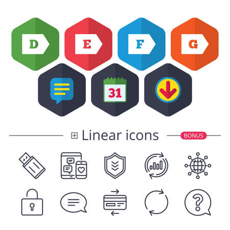 Calendar, Speech bubble and Download signs. Energy efficiency class icons. Energy consumption sign symbols. Class D, E, F and G. Chat, Report graph line icons. More linear signs. Editable stroke
