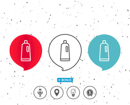 Speech bubbles with symbol. Cleaning shampoo line icon. Washing liquid or Cleanser symbol. Housekeeping equipment sign. Bonus with different classic signs. Random circles background. Vector