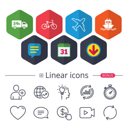 Calendar, Speech bubble and Download signs. Cargo truck and shipping icons. Shipping and eco bicycle delivery signs. Transport symbols. 24h service. Chat, Report graph line icons. More linear signs