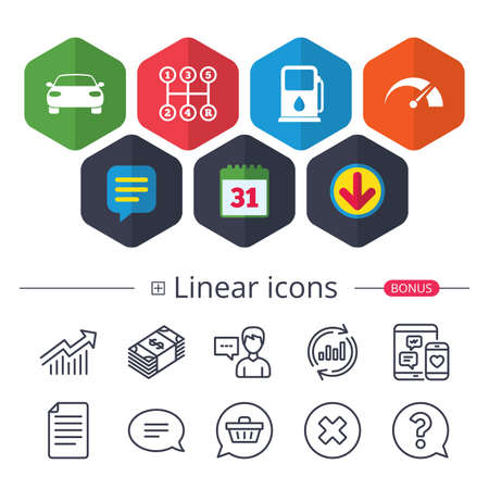 Calendar, Speech bubble and Download signs. Transport icons. Car tachometer and manual transmission symbols. Petrol or Gas station sign. Chat, Report graph line icons. More linear signs. Vector Illustration