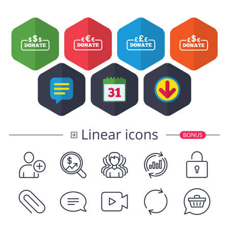 Calendar, Speech bubble and Download signs. Donate money icons. Dollar, euro and pounds symbols. Multicurrency signs. Chat, Report graph line icons. More linear signs. Editable stroke. Vector Çizim