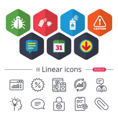 Calendar, Speech bubble and Download signs. Bug disinfection icons. Caution attention symbol. Insect fumigation spray sign. Chat, Report graph line icons. More linear signs. Editable stroke. Vector
