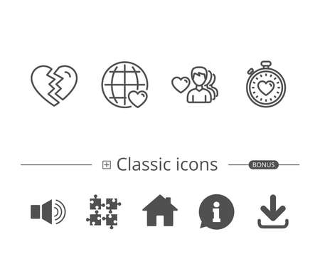 Heart timer, Divorce and Love dating line icons. Valentines day and World love signs. Information speech bubble sign. And more signs. Editable stroke. Vector