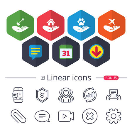 Calendar, Speech bubble and Download signs. Helping hands icons. Shelter for dogs symbol. Home house or real estate and key signs. Flight trip insurance. Chat, Report graph line icons. Vector