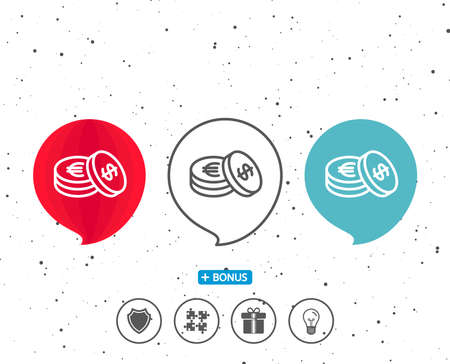Speech bubbles with symbol. Coins money line icon. Banking currency sign. Euro and Dollar Cash symbols. Bonus with different classic signs. Random circles background. Vector Ilustrace