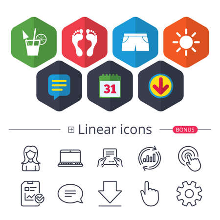 Calendar, Speech bubble and Download signs. Beach holidays icons. Cocktail, human footprints and swimming trunks signs. Summer sun symbol. Chat, Report graph line icons. More linear signs. Vector 向量圖像