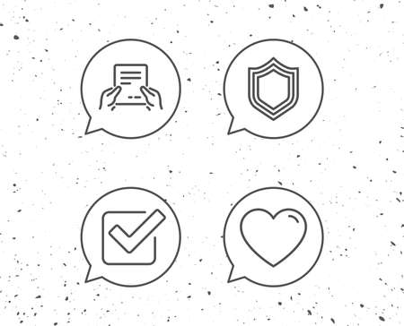 Speech bubbles with signs. Report file, Protection and Check line icons. Heart or Love sign. Grunge background. Editable stroke. Vector