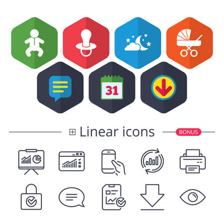 Calendar, Speech bubble and Download signs. Moon and stars symbol. Baby infants icon. Buggy and dummy signs. Child pacifier and pram stroller. Chat, Report graph line icons. More linear signs. Vector