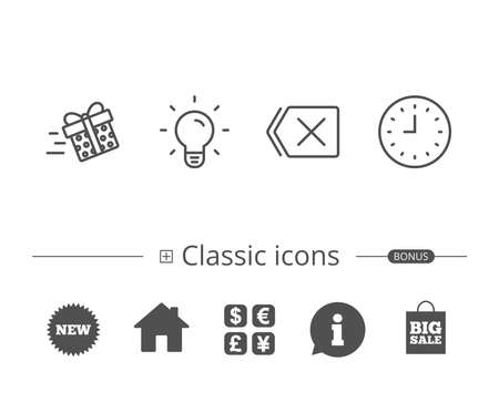 Clock, Light bulb and Gift box delivery line icons. Delete button sign. Information speech bubble sign. And more signs. Editable stroke. Vector