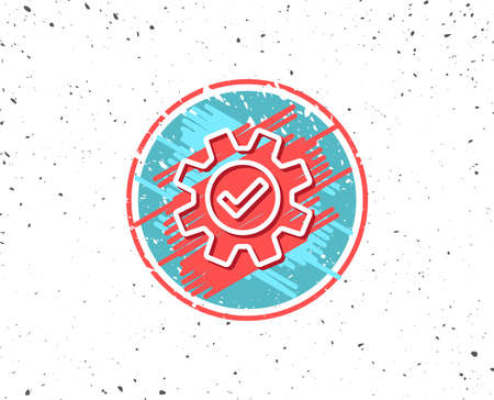 Grunge button with symbol. Cogwheel line icon. Approved Service sign. Transmission Rotation Mechanism symbol. Random background. Vector
