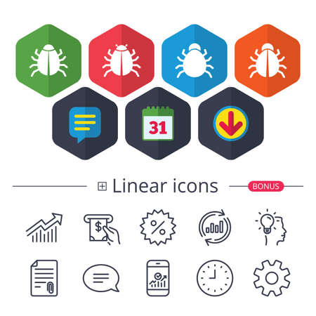 Calendar, Speech bubble and Download signs. Bugs vaccination icons. Virus software error sign symbols. Chat, Report graph line icons. More linear signs. Editable stroke. Vector Illustration