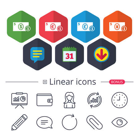 Calendar, Speech bubble and Download signs. Businessman case icons. Dollar, yen, euro and pound currency sign symbols. Chat, Report graph line icons. More linear signs. Editable stroke. Vector