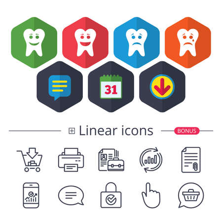 Calendar, Speech bubble and Download signs. Tooth happy, sad and crying faces icons. Dental care signs. Healthy or unhealthy teeth symbols. Chat, Report graph line icons. More linear signs. Vector