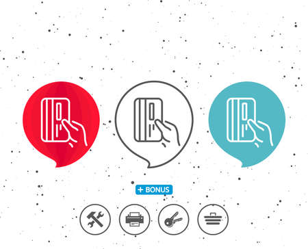 Speech bubbles with symbol. Credit card line icon. Hold Banking Payment card sign. ATM service symbol. Bonus with different classic signs. Random circles background. Vector