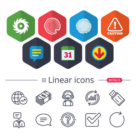 Calendar, Speech bubble and Download signs. Wood and saw circular wheel icons. Attention caution symbol. Sawmill or woodworking factory signs. Chat, Report graph line icons. More linear signs. Vector