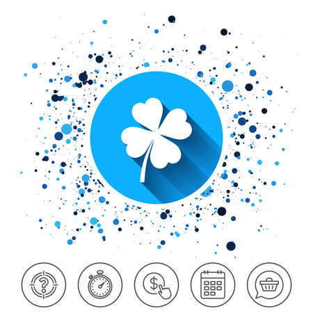 Button on circles background. Clover with four leaves sign icon. Saint Patrick symbol. Calendar line icon. And more line signs. Random circles. Editable stroke. Vector Illustration