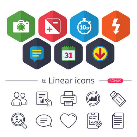 Calendar, Speech bubble and Download signs. Photo camera icon. Flash light and exposure symbols. Stopwatch timer 10 seconds sign. Chat, Report graph line icons. More linear signs. Editable stroke