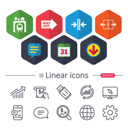 Calendar, Speech bubble and Download signs. Underground metro train icon. Automatic door symbol. Way out arrow sign. Chat, Report graph line icons. More linear signs. Editable stroke. Vector Illustration