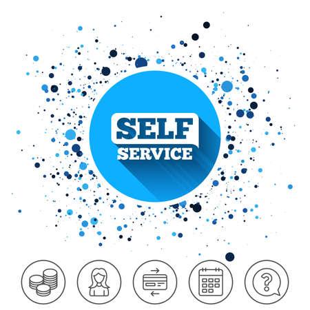 Button on circles background. Self service sign icon. Maintenance button. Calendar line icon. And more line signs. Random circles. Editable stroke. Vector