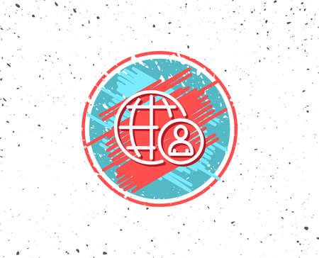 Grunge button with symbol. International business recruitment line icon. Global human resources sign. Random background. Vector