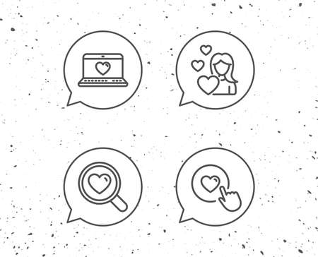 Speech bubbles with signs. Heart, Search love and Romantic communication line icons. Valentines day and Click on button with heart signs. Grunge background. Editable stroke. Vector