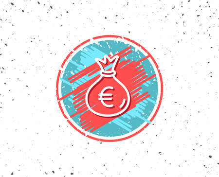 Grunge button with symbol. Money bag line icon. Cash Banking currency sign. Euro or EUR symbol. Random background. Vector