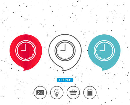 Speech bubbles with symbol. Clock line icon. Time sign. Office Watch or Timer symbol. Bonus with different classic signs. Random circles background. Vector
