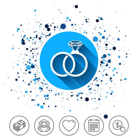 Button on circles background. Wedding rings sign icon. Engagement symbol. Calendar line icon. And more line signs. Random circles. Editable stroke. Vector Stock Vector - 90086293