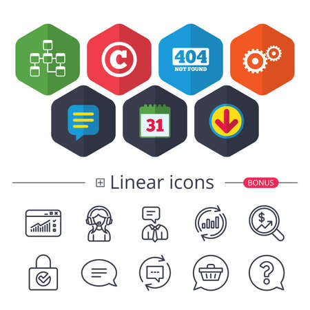 Calendar, Speech bubble and Download signs. Website database icon. Copyrights and gear signs. 404 page not found symbol. Under construction. Chat, Report graph line icons. More linear signs. Vector