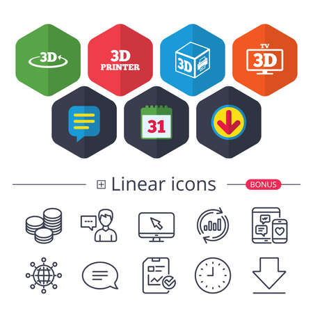 Calendar, Speech bubble and Download signs. 3d technology icons. Printer, rotation arrow sign symbols. Print cube. Chat, Report graph line icons. More linear signs. Editable stroke. Vector