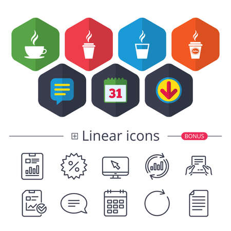 Calendar, Speech bubble and Download signs. Coffee cup icon. Hot drinks glasses symbols. Take away or take-out tea beverage signs. Chat, Report graph line icons. More linear signs. Editable stroke Иллюстрация
