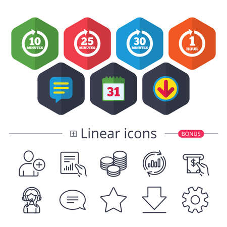 Calendar, Speech bubble and Download signs. Every 10, 25, 30 minutes and 1 hour icons. Full rotation arrow symbols. Iterative process signs. Chat, Report graph line icons. More linear signs. Vector