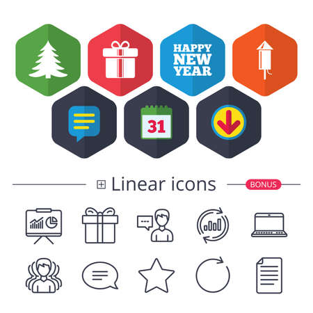 Calendar, Speech bubble and Download signs. Happy new year icon. Christmas tree and gift box signs. Fireworks rocket symbol. Chat, Report graph line icons. More linear signs. Editable stroke. Vector