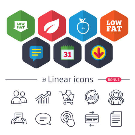 Calendar, Speech bubble and Download signs. Low fat arrow icons. Diets and vegetarian food signs. Apple with leaf symbol. Chat, Report graph line icons. More linear signs. Editable stroke. Vector Ilustrace